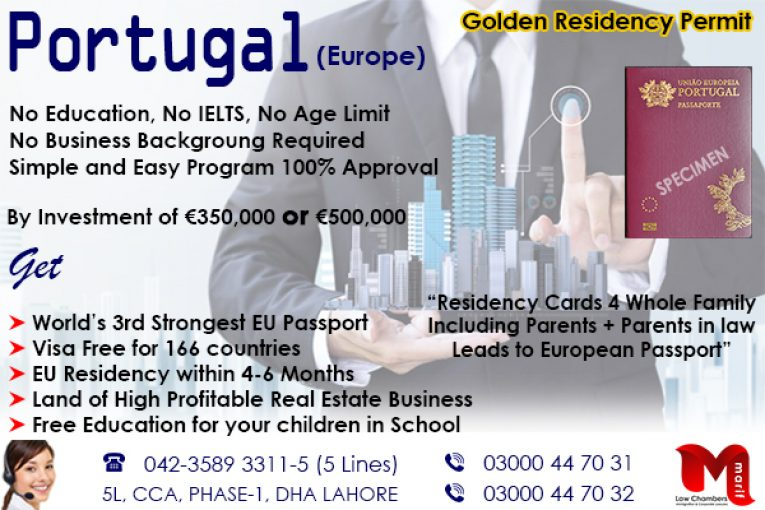 Get Portugal Golden visa Residency Permit Through us