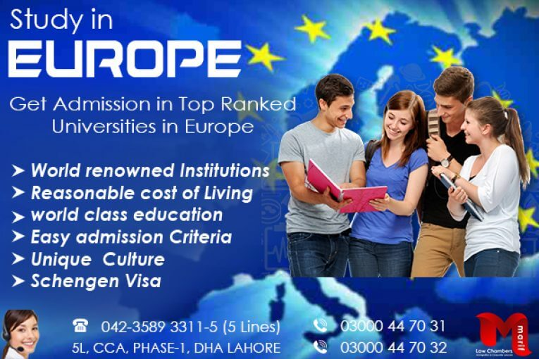 Apply Study Visa of Europe in Top Ranked Universities of Europe Countries.