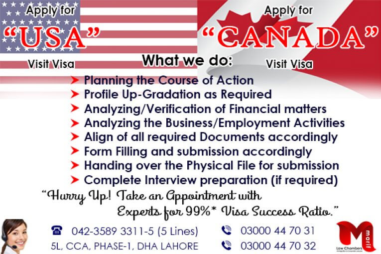 Apply USA/CANADA Visit Visa Through our Experts